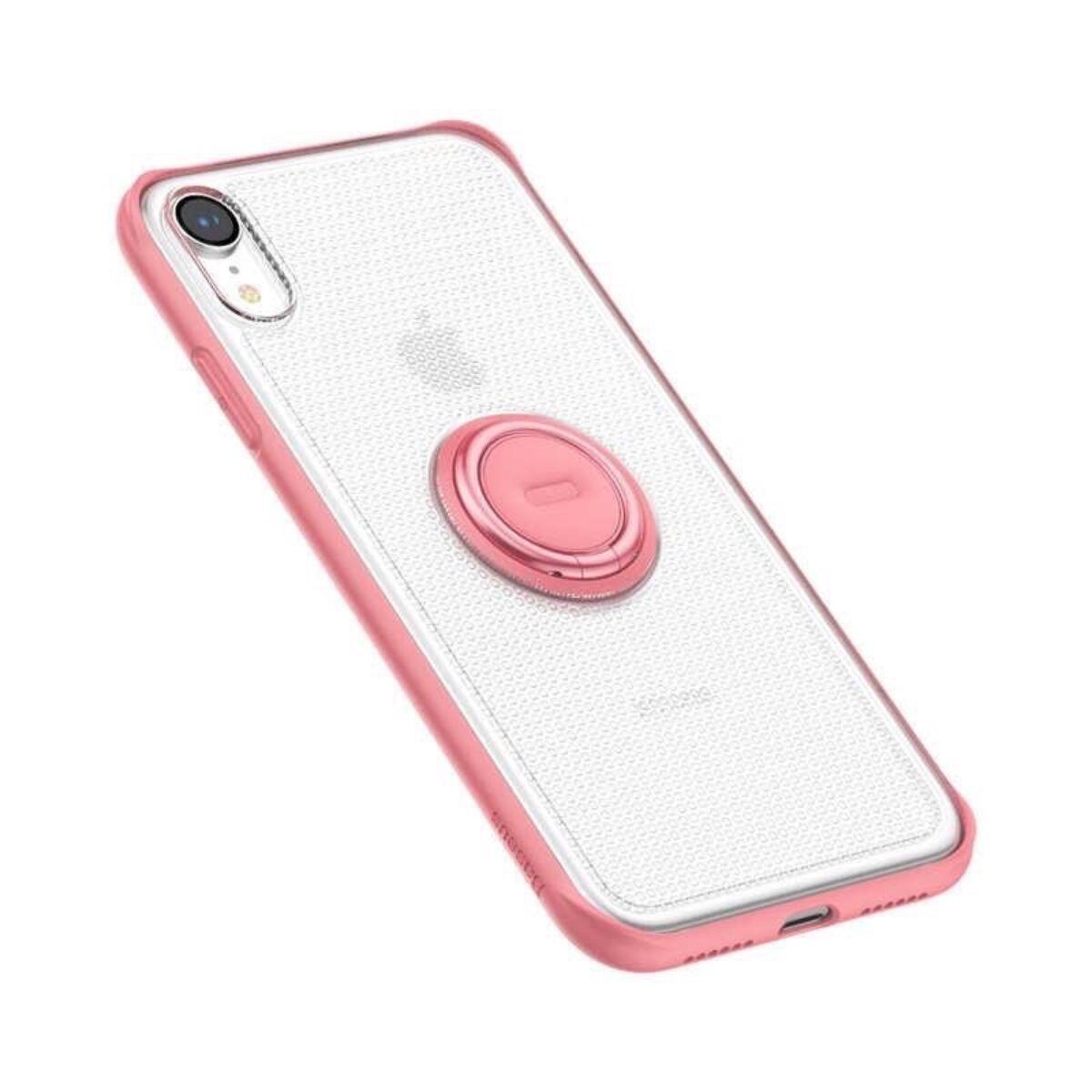 Baseus iPhone XR tok, telefontartó, gyűrűs tok, rózsaszín (WIAPIPH61-YD04)