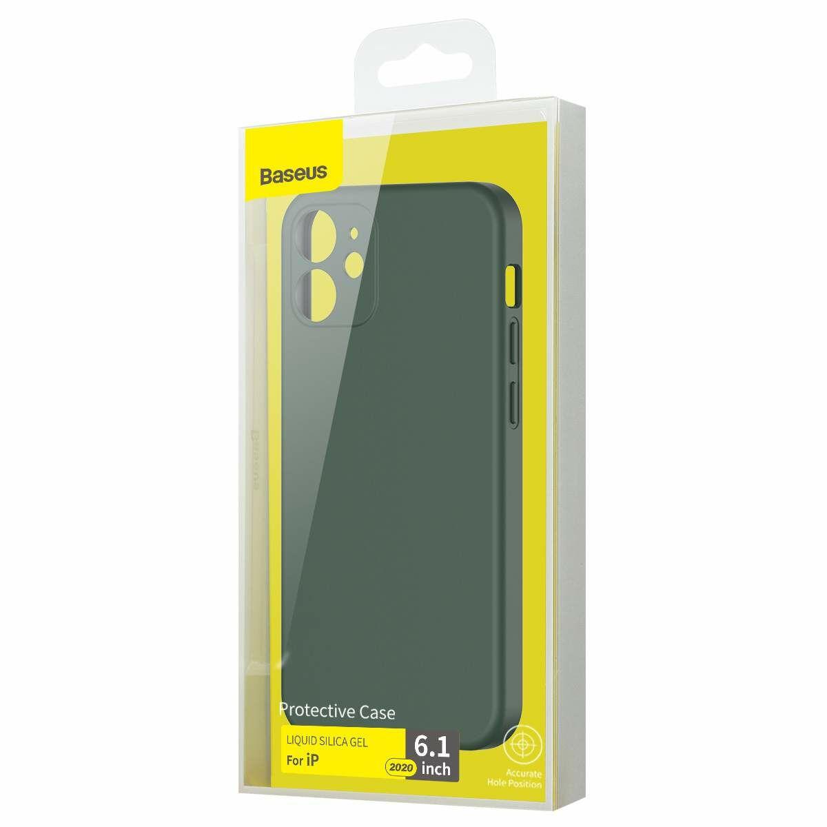 Baseus iPhone 12/12 Pro tok, Liquid Sicila Gel, sötétzöld (WIAPIPH61N-YT6A)