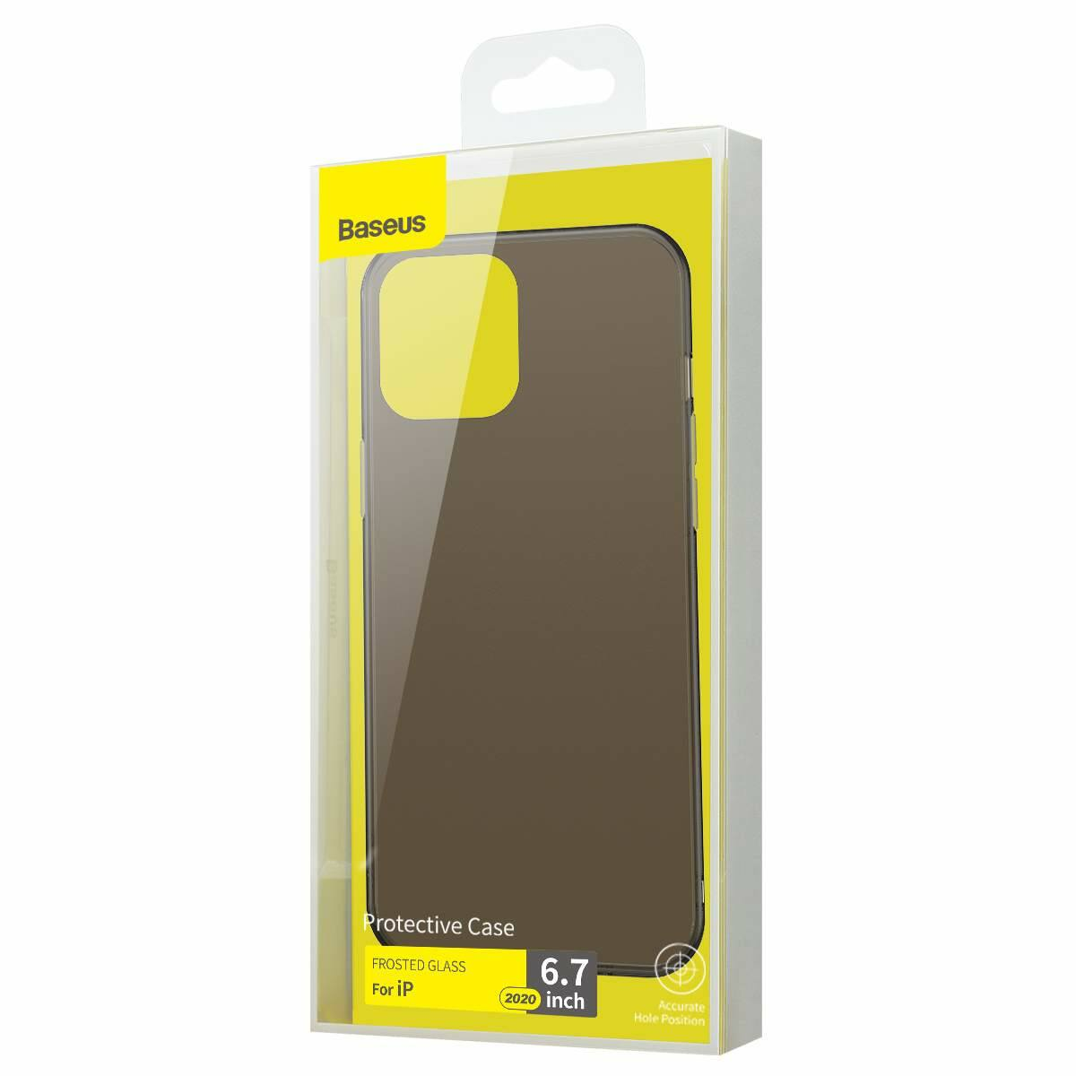 Baseus iPhone 12 Pro Max tok, Frosted Glass, fekete (WIAPIPH67N-WS01)
