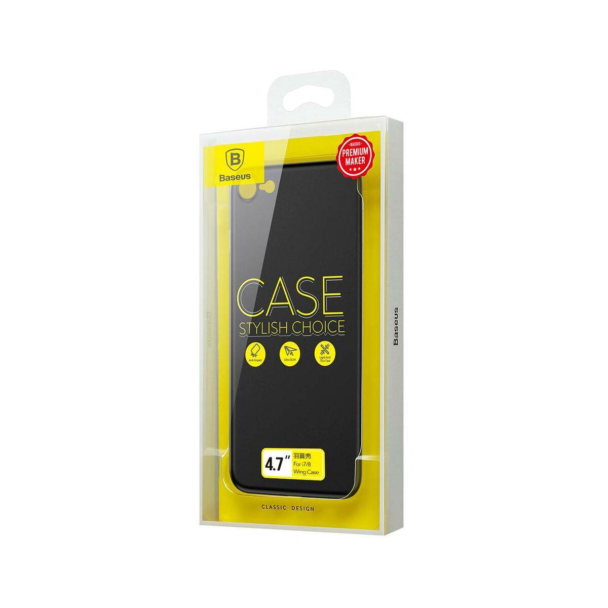 Baseus iPhone 8/7 tok, Wing, fekete (WIAPIPH7-E1A)