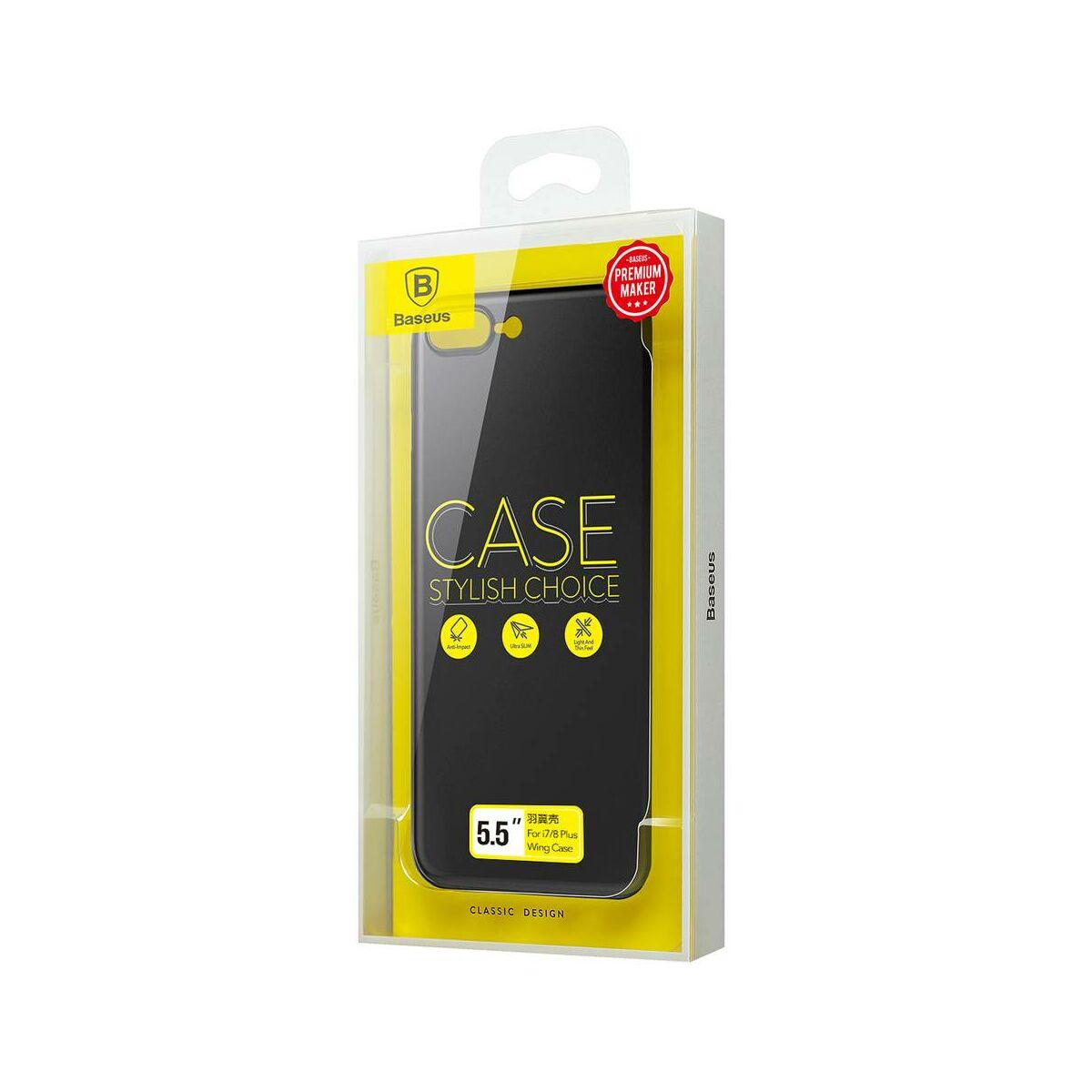 Baseus iPhone 8/7 Plus tok, Wing, fekete (WIAPIPH7P-E1A)
