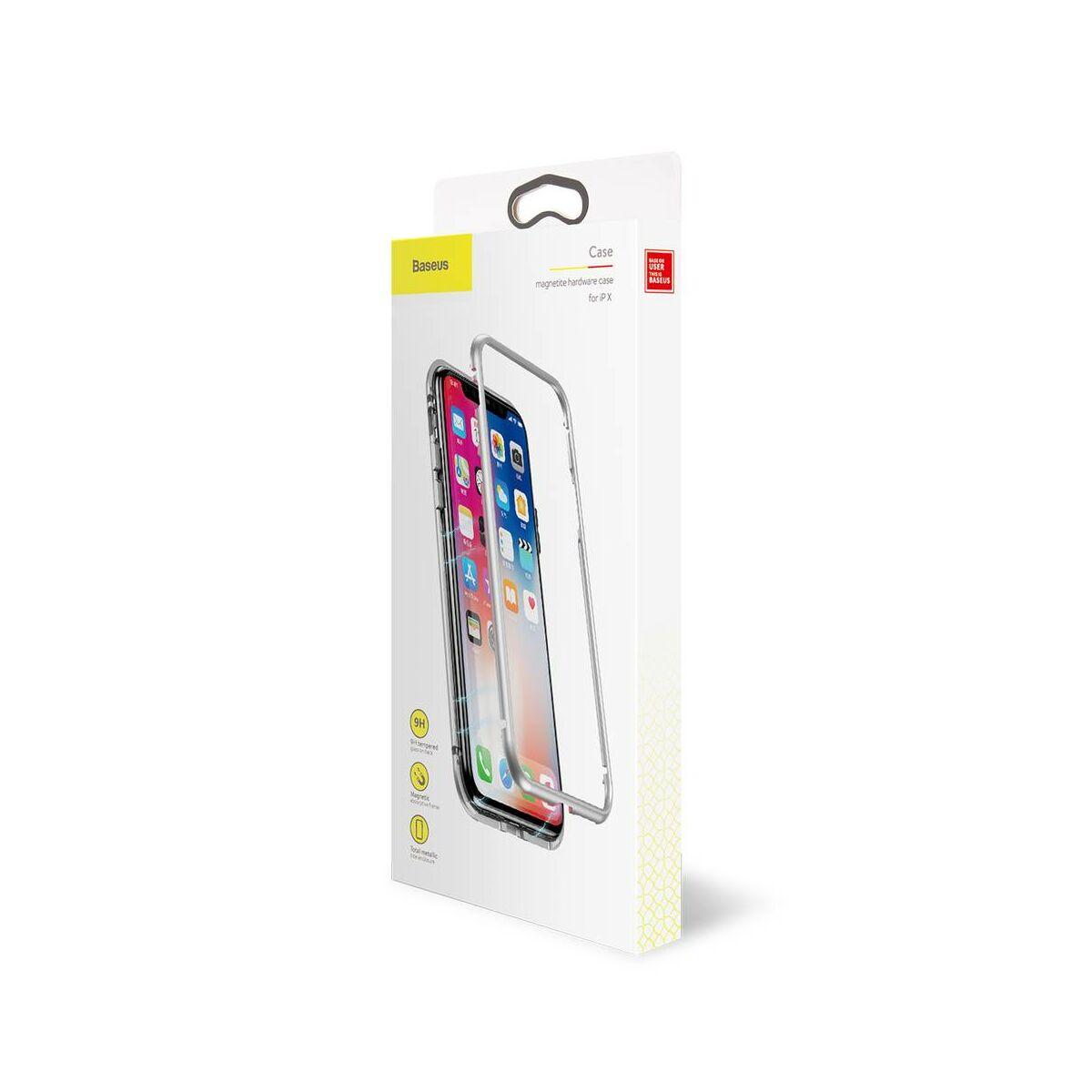 Baseus iPhone X/XS tok, Magnetite hardware, mágneses, ezüst (WIAPIPHX-CS0S)