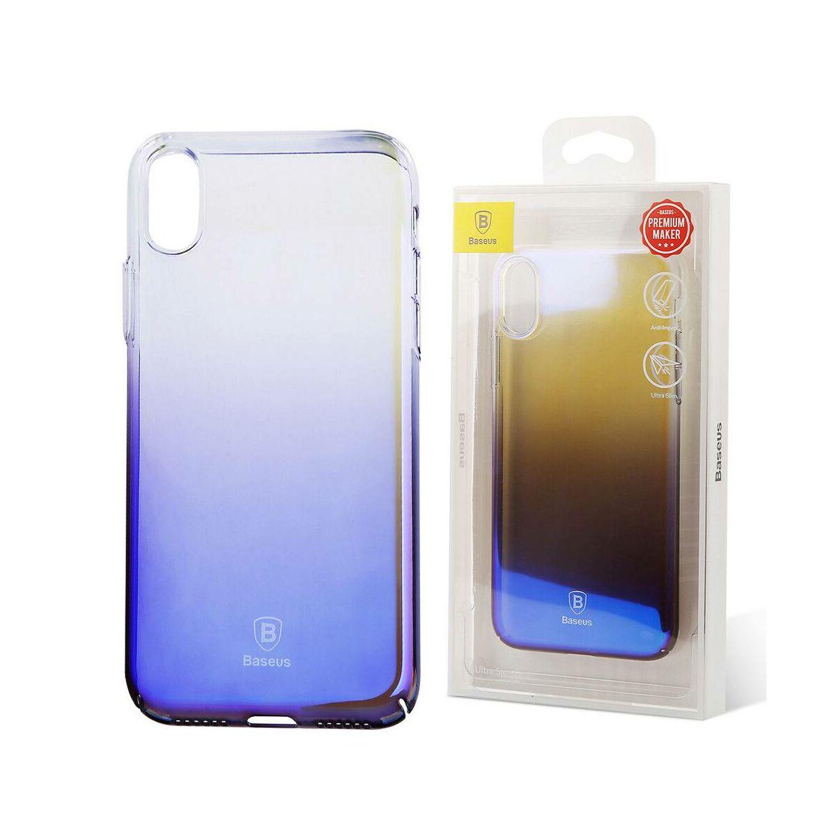 Baseus iPhone X/XS tok, Glaze, átlátszó, fekete (WIAPIPHX-GC01)