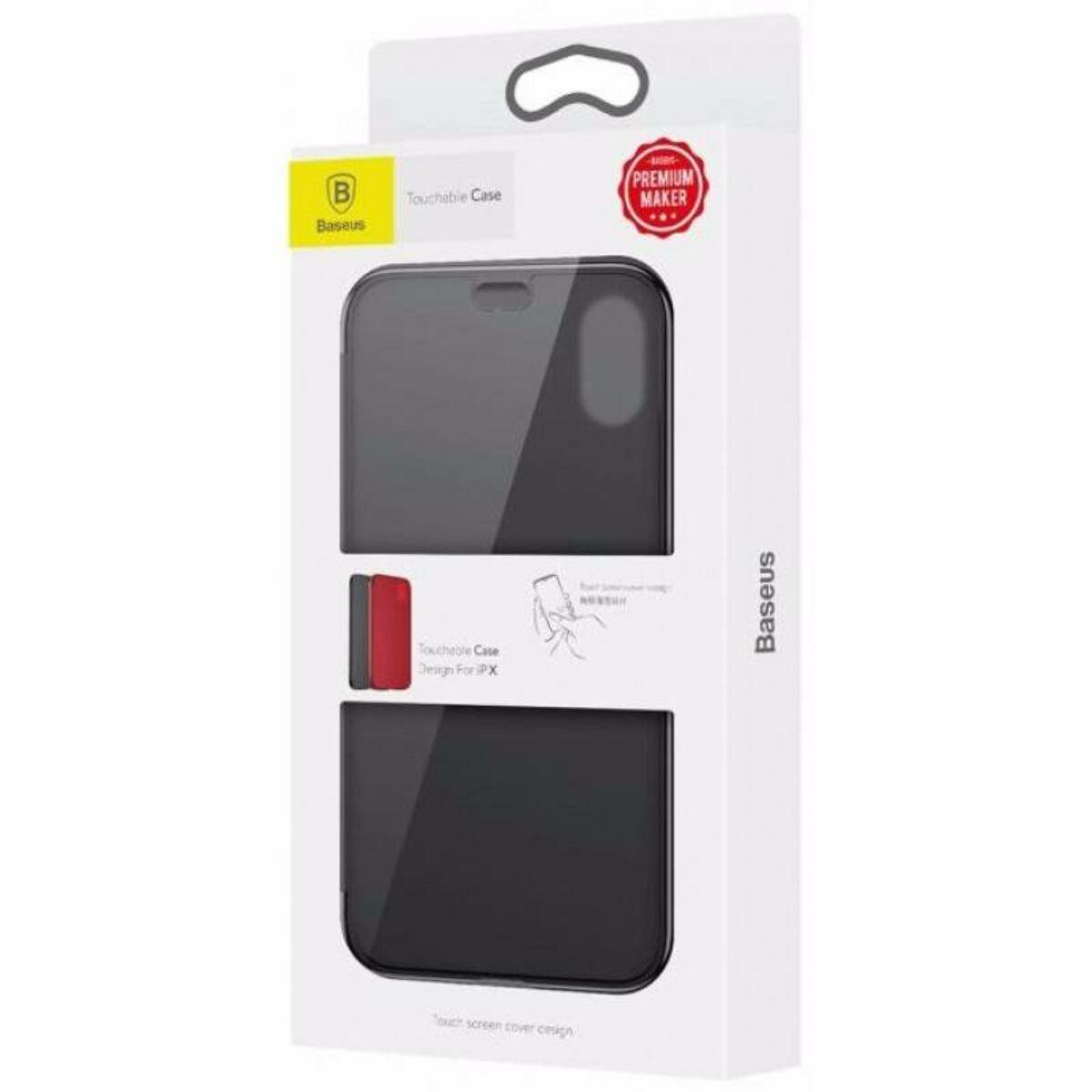 Baseus iPhone X/XS tok, Touchable kihajtható, érintő felületű flip tok, fekete (WIAPIPHX-TS01)
