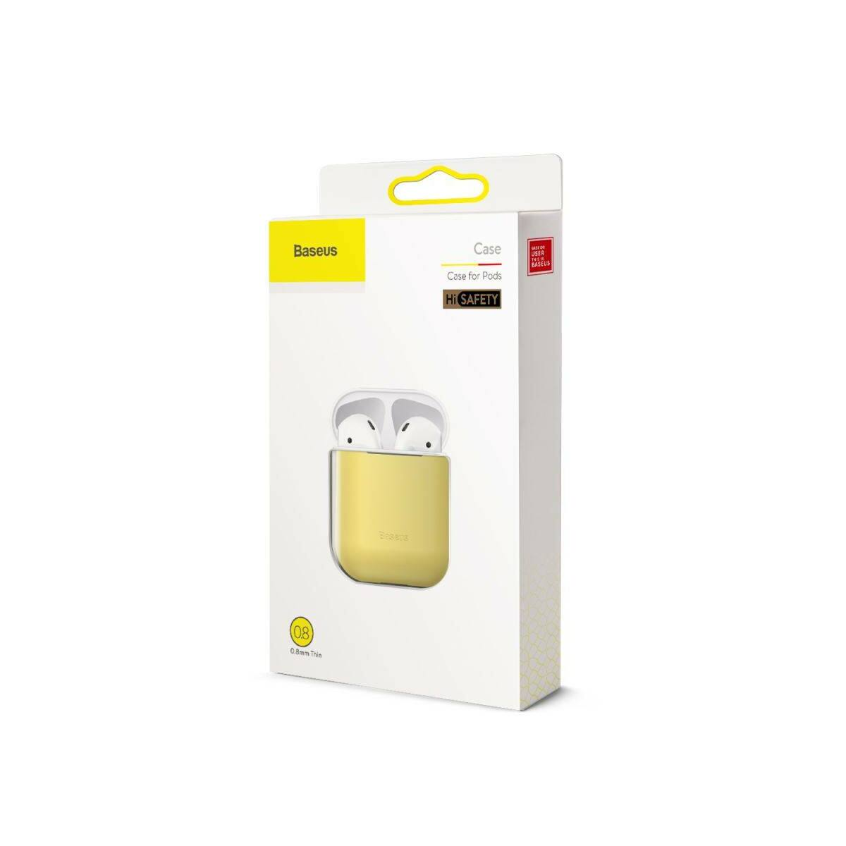 Baseus Airpods 2/1 tok, Ultrathin Series szilikon, citromsárga (WIAPPOD-BZ0Y)