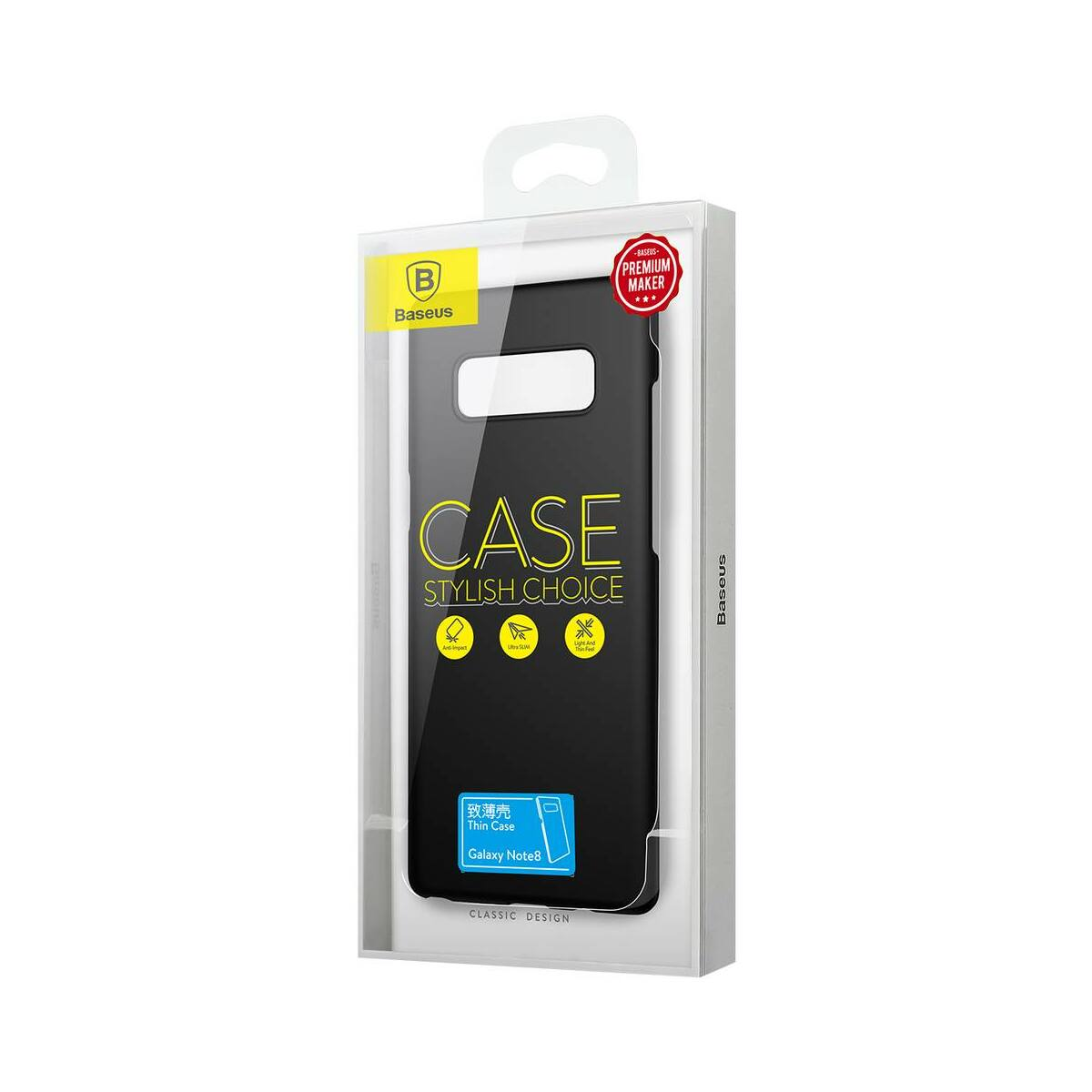 Baseus Samsung Note 8 tok, Thin, fekete (WISANOTE8-ZB01)