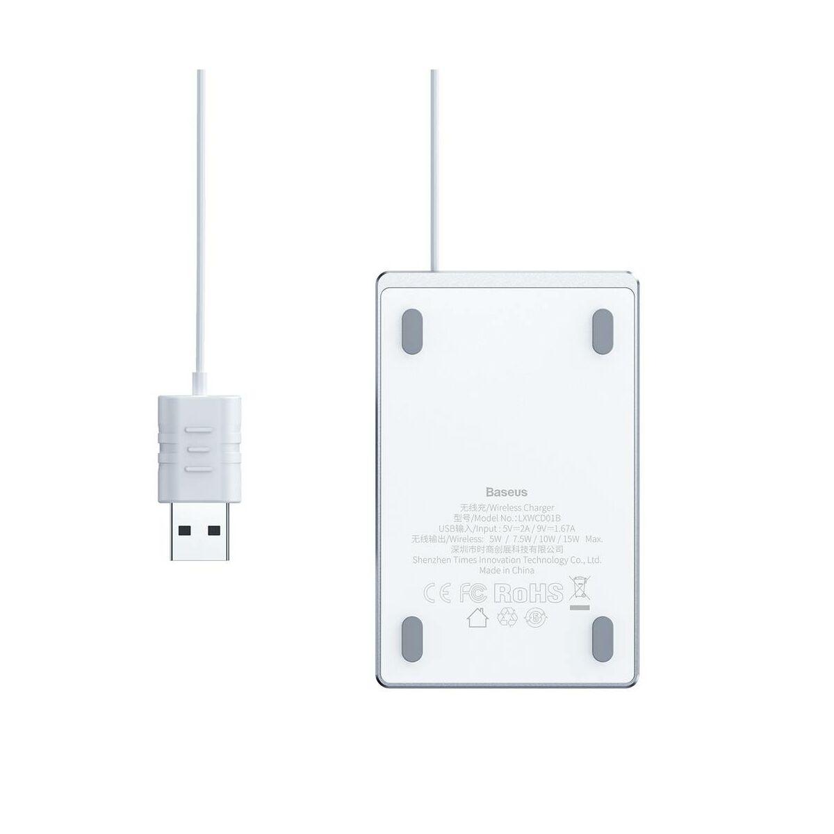 Baseus vezeték nélküli töltő Ultra-thin Card 15W (beépített 1m USB kábellel), ezüst/fehér (WX01B-S2)