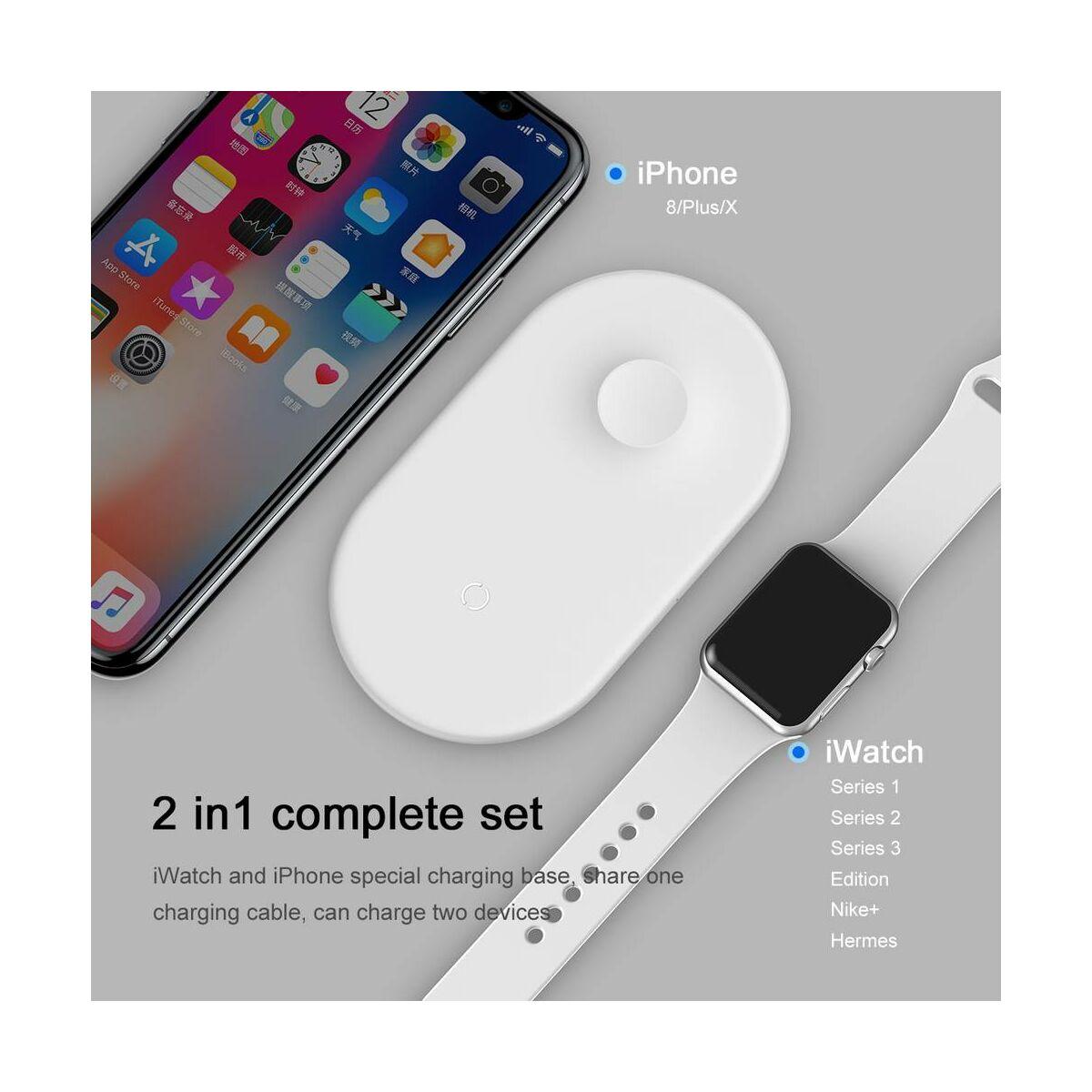 Baseus vezeték nélküli gyors töltés Smart 2-in-1 okostelefonokhoz és órákhoz 10W, fehér (WX2IN1-02)