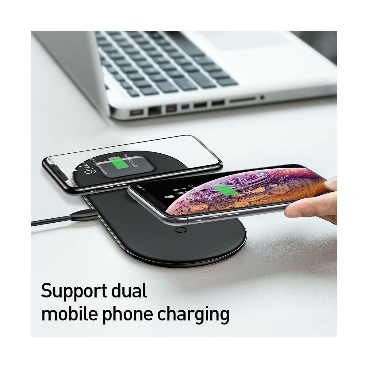 Baseus Vezeték nélküli töltő 3-in-1 (iPhone+Watch+Pods - 18W MAX), fekete (WX3-in-1-01)