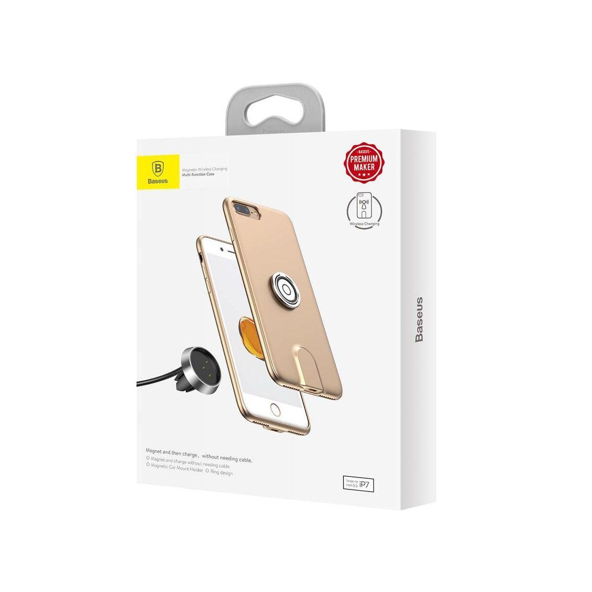 Baseus iPhone 8/7 tok, Mágneses, multifunkcionális, vezeték nélküli töltés támogatással, arany (WXAPIPH8N-17)