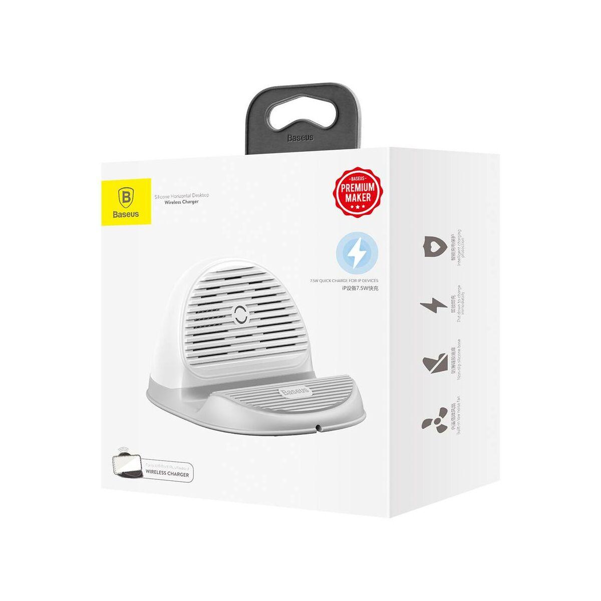 Baseus vezeték nélküli töltő, gyors töltés hűtőventilátorral és tartóval 10W, fehér (WXHSG-02)