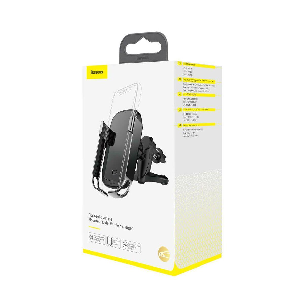 Baseus autós telefontartó, Rock-solid Electric Holder, szenzoros nyitás, vezeték nélküli töltés, 10W, fekete (WXHW01-01)