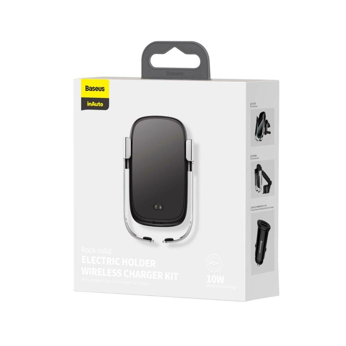 Baseus autós telefon tartó, Rock-solid Electric Holder szett, szenzoros nyit, Vez. Nélk. Tölt (szellőző+műszerf+szivargy) ezüst WXHW01-B0S