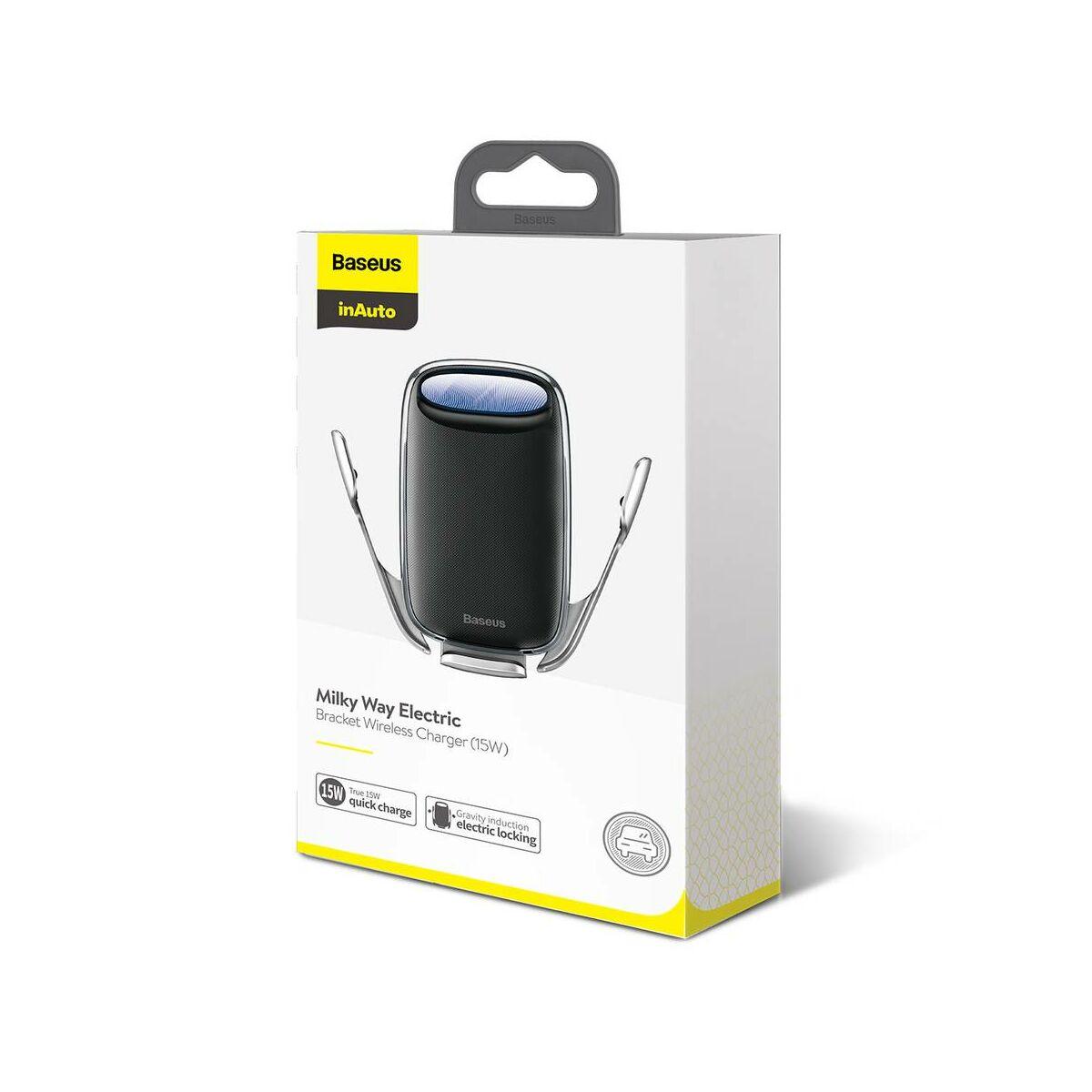 Baseus autós telefon tartó, Milky Way Aurora elektromos automata szenzoros nyitás, vezeték nélküli töltés, 15W, ezüst (WXHW02-0S)