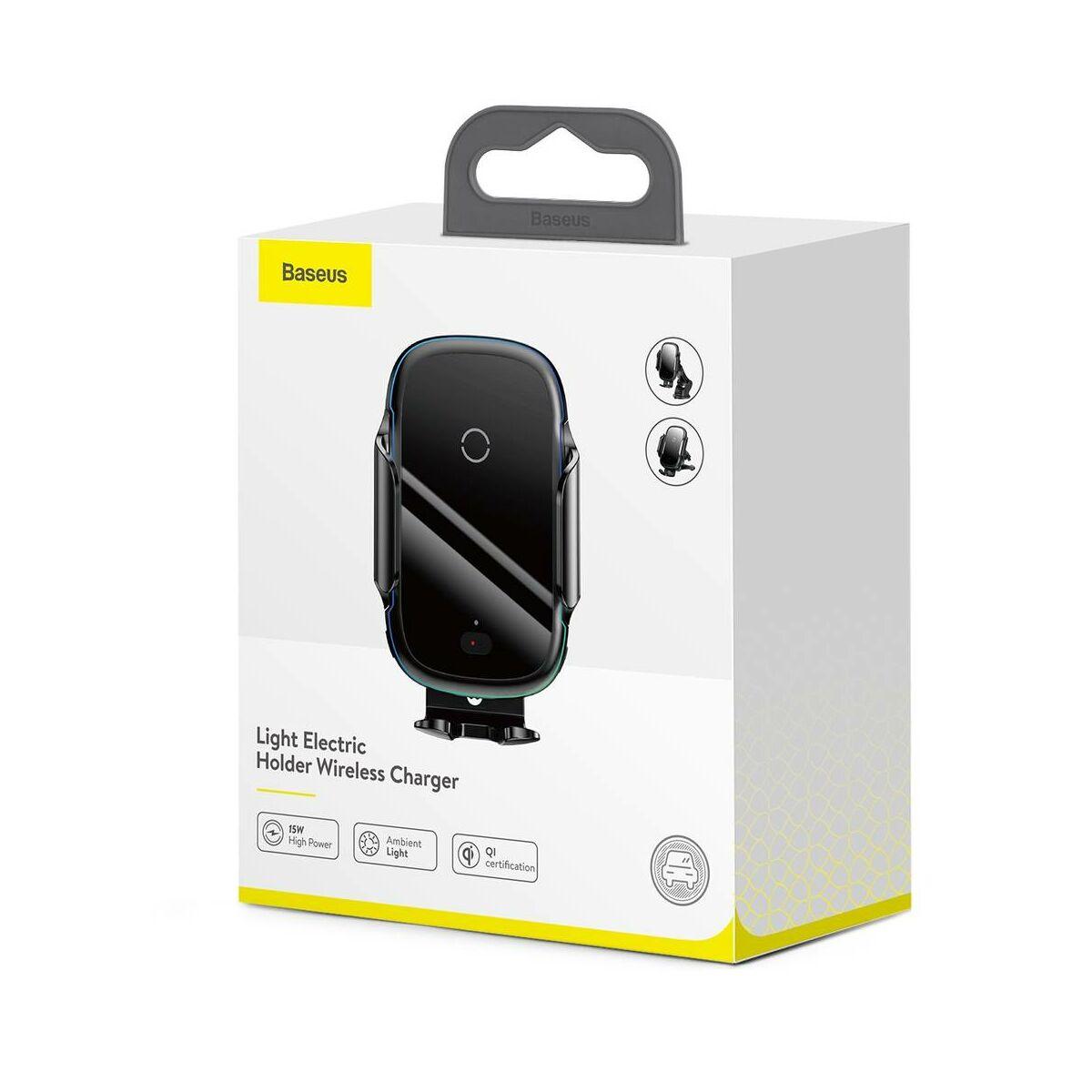 Baseus autós telefontartó, vezeték nélküli töltő, Light Electric elektromos nyitás, automata infra szenzoros zárás, 15W, fekete (WXHW03-01)
