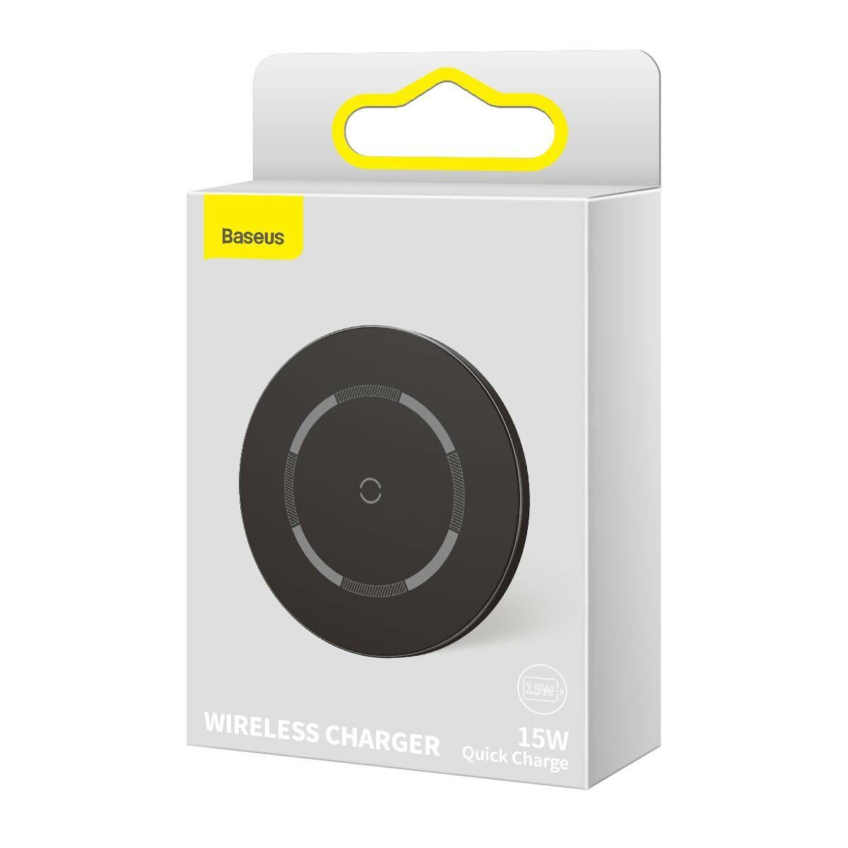 Baseus vezeték nélküli töltő, Simple Magnetic, iPhone 12 modellhez, 15W, fekete (WXJK-E01)