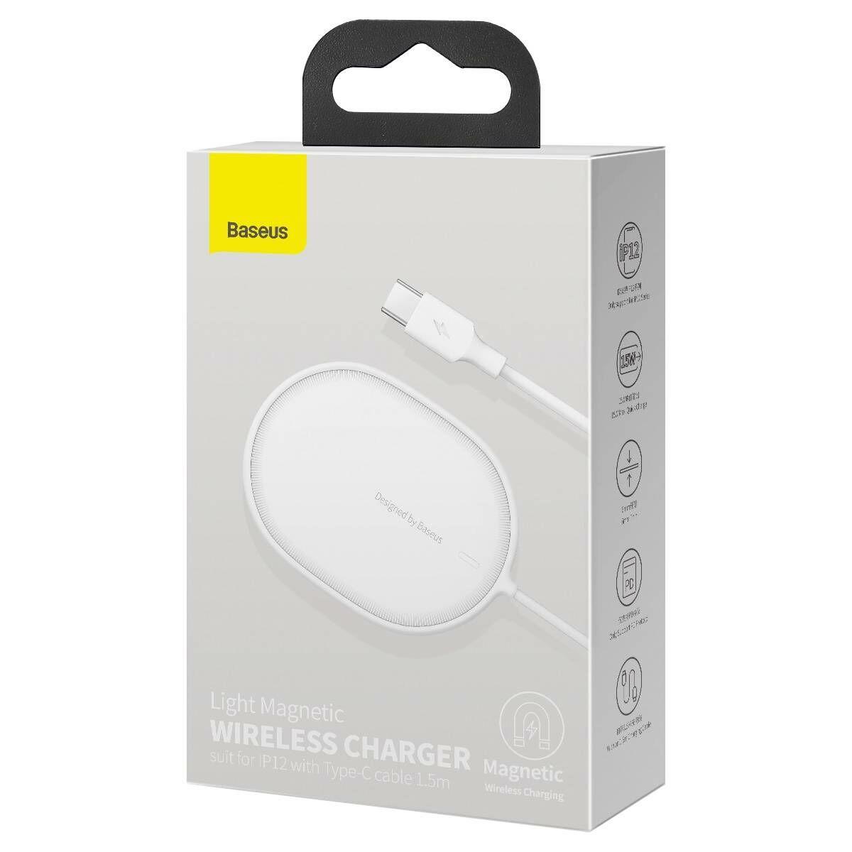Baseus vezeték nélküli töltő, Light Magnetic, iPhone 12 modellhez (Type-C kábel 2A, 1.5m) 15W, fehér (WXQJ-02)