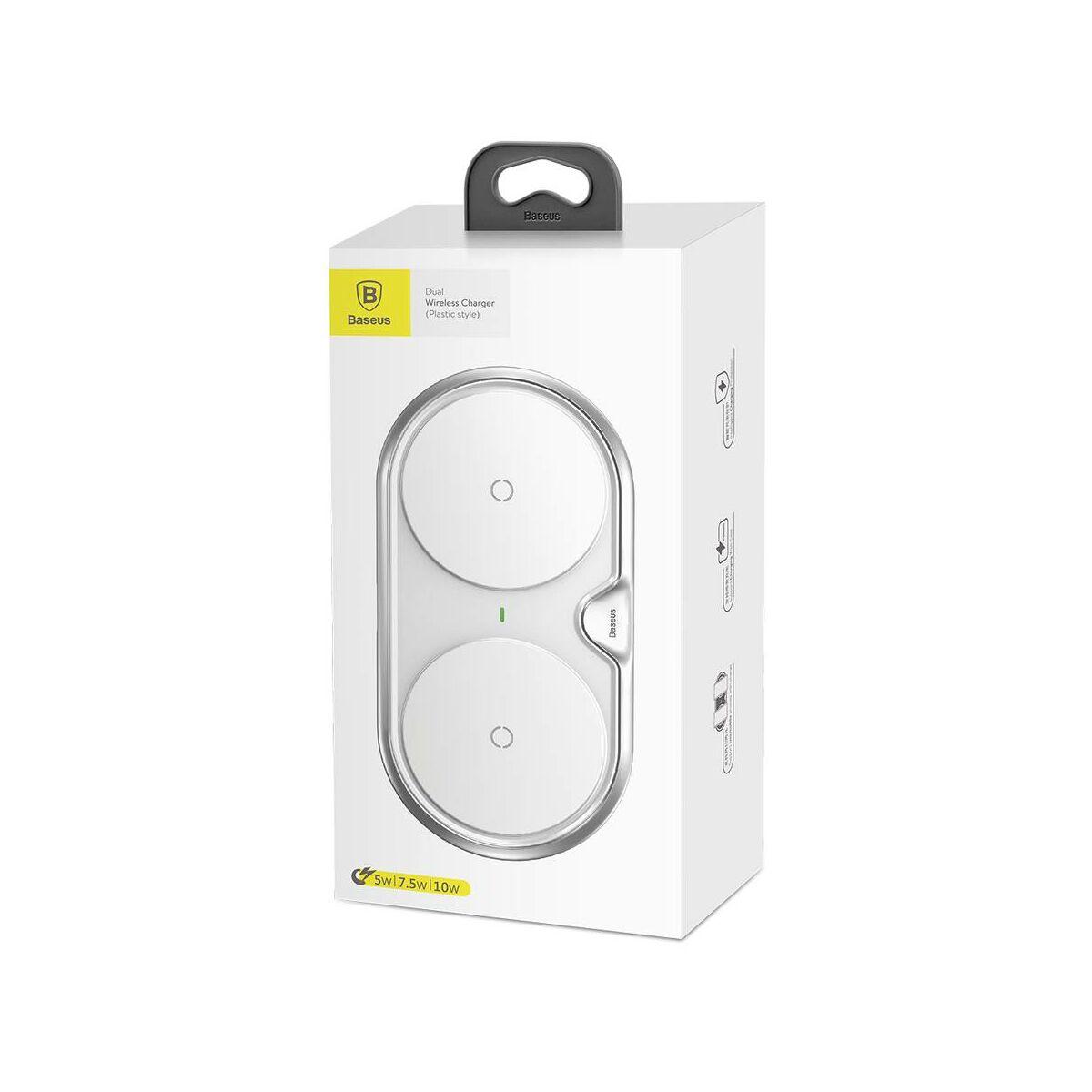 Baseus vezeték nélküli töltő, Dual station 10W/oldal, fehér (WXSJK-02)
