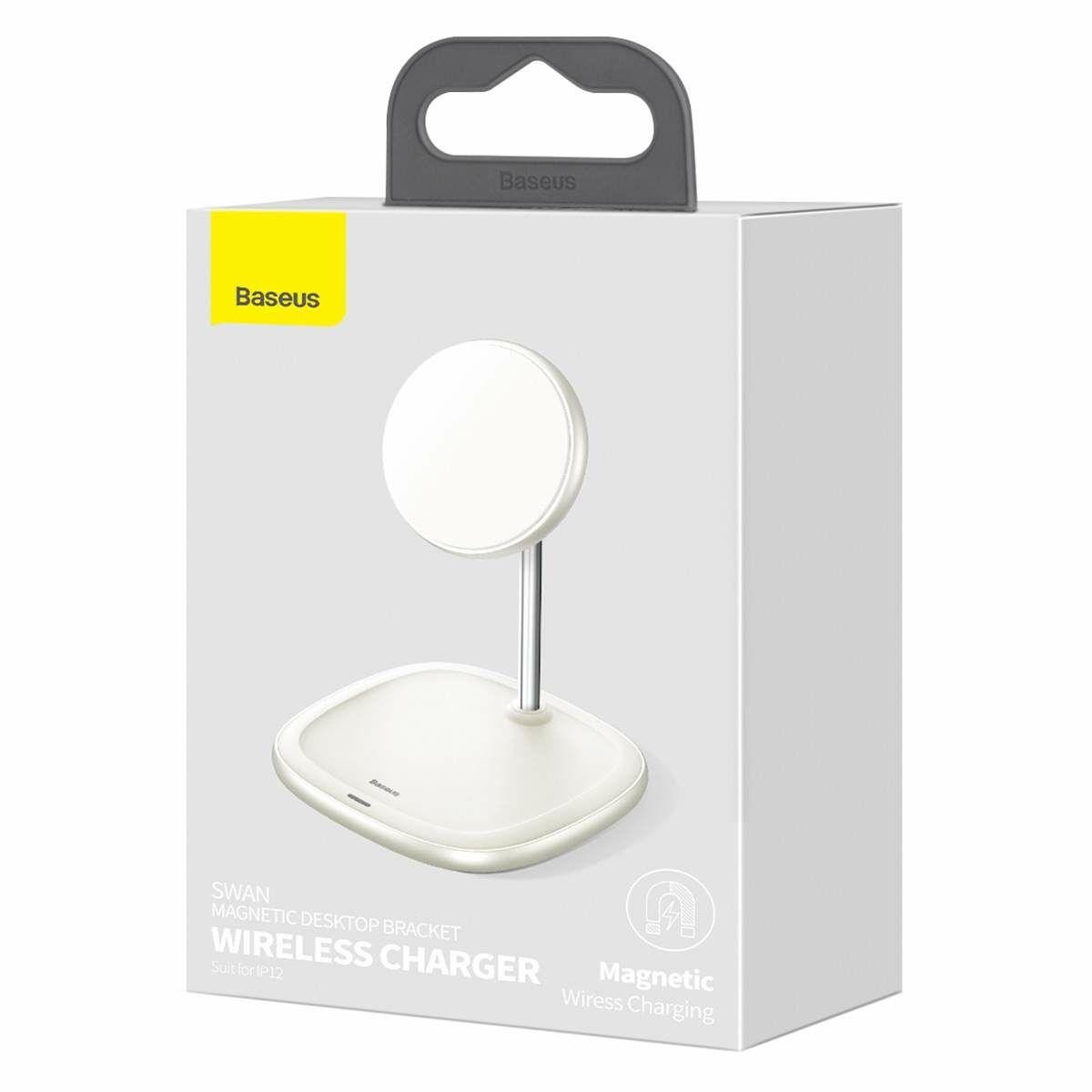 Baseus vezeték nélküli töltő, Swan Magnetic asztali konzol, iPhone 12 modellhez, 15W, fehér (WXSW-02)