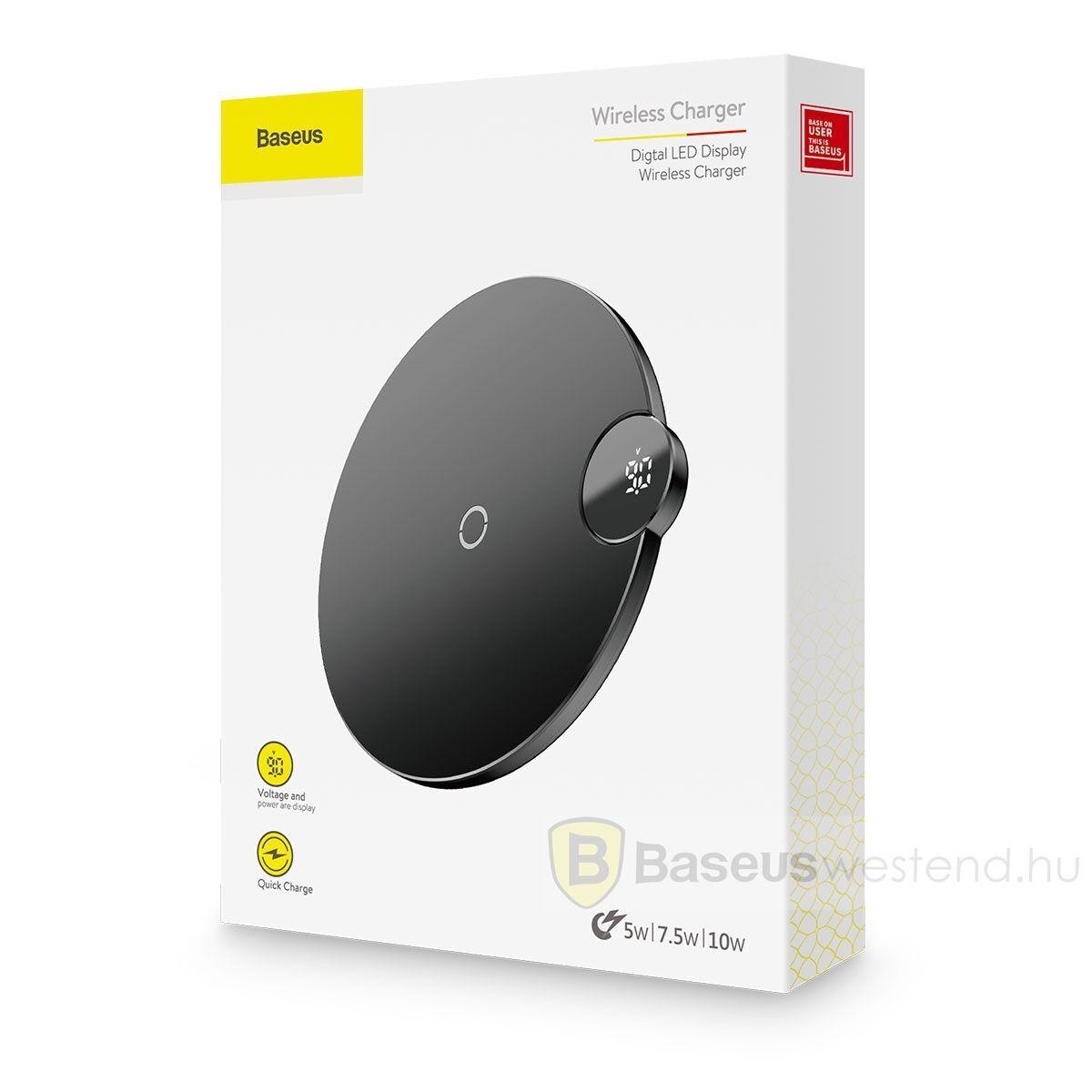 Baseus vezeték nélküli töltő, digitális LED kijelző 10W, fekete (WXsX-01)