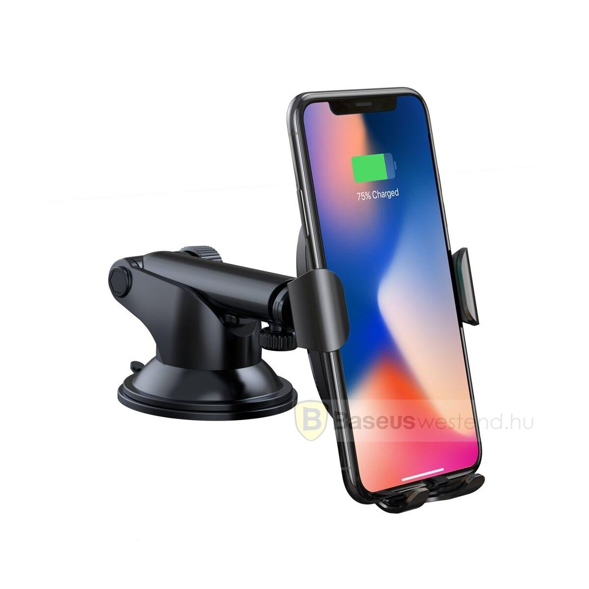 Baseus autós telefon tartó, vezeték nélküli töltő állítható karral, műszerfalra, fekete (WXYL-A01)