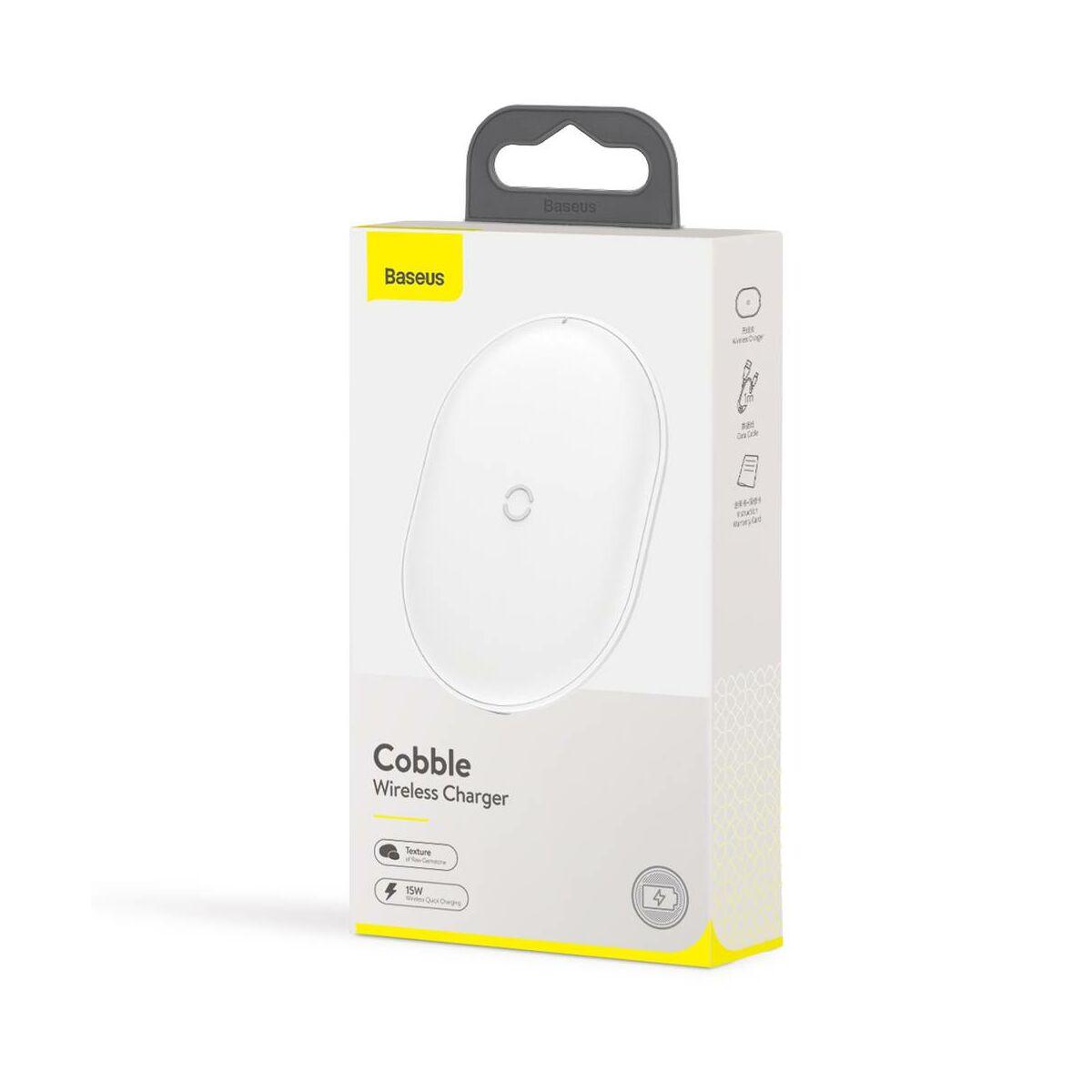 Baseus vezeték nélküli töltő, Cobble 15W, fehér (WXYS-02)