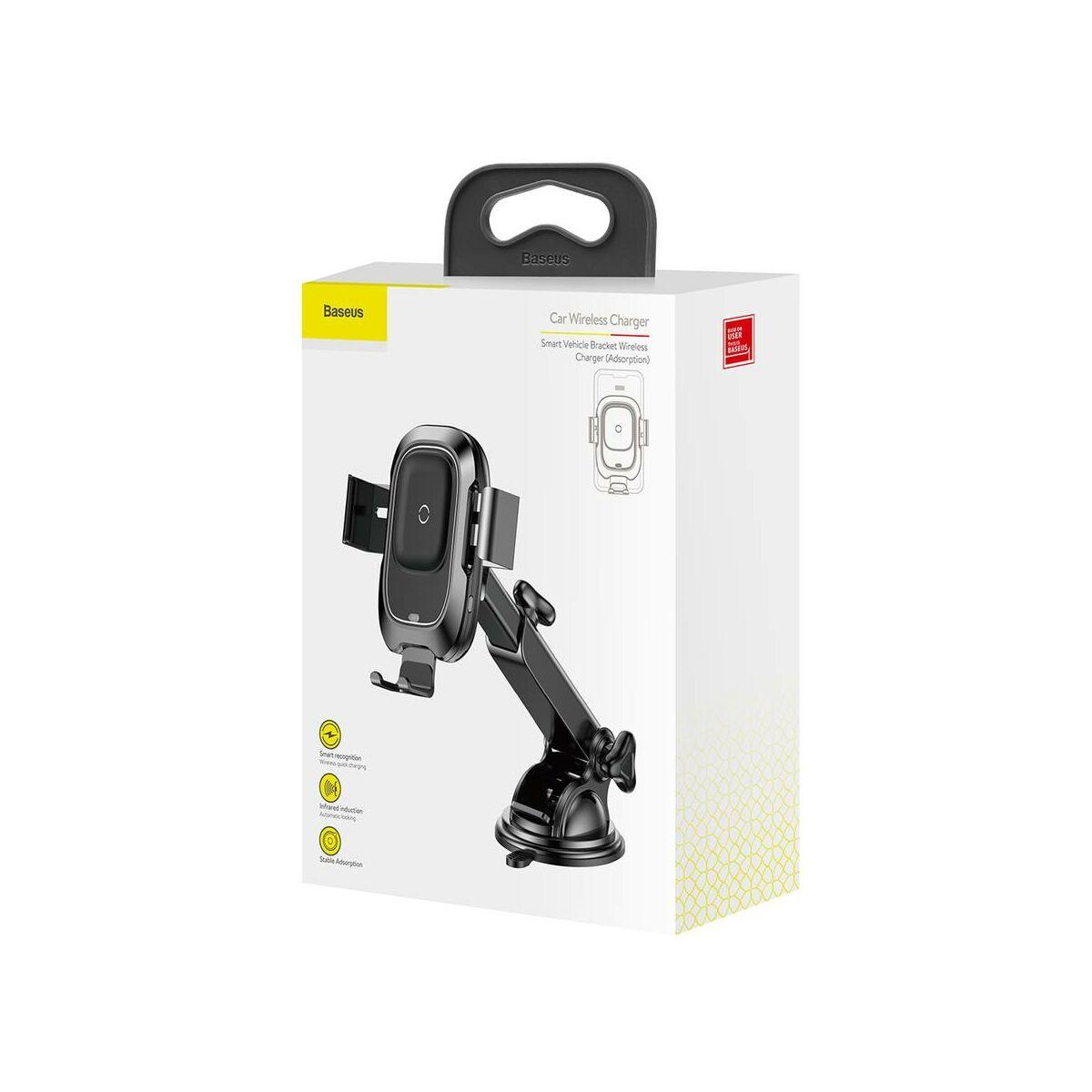 Baseus autós telefontartó, vezeték nélküli töltő, automatikus nyitás-zárás, (műszerfalra), fekete (WXZN-B01)