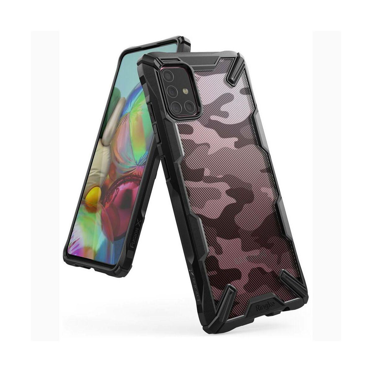 Ringke Samsung Galaxy A71 tok, Fusion X, Design Camo, terepmintás, fekete