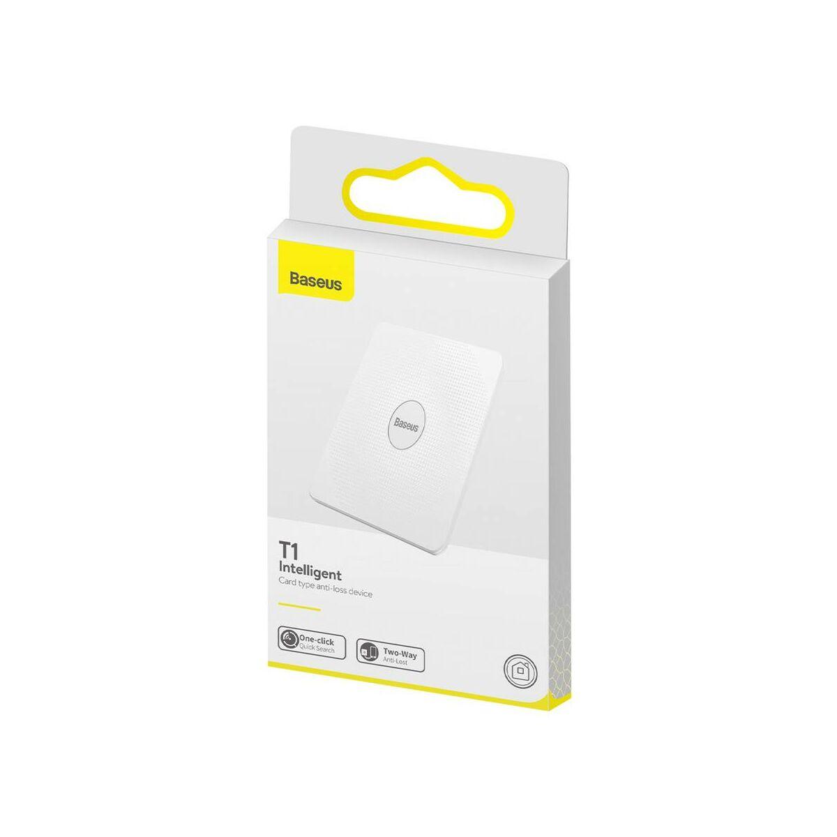 Baseus otthon, Intelligens T1 mini lapos kártya forma, elveszett eszközök/kulcsok megtalálásához eszköz és detektor, fehér (ZLFDQT1-02)