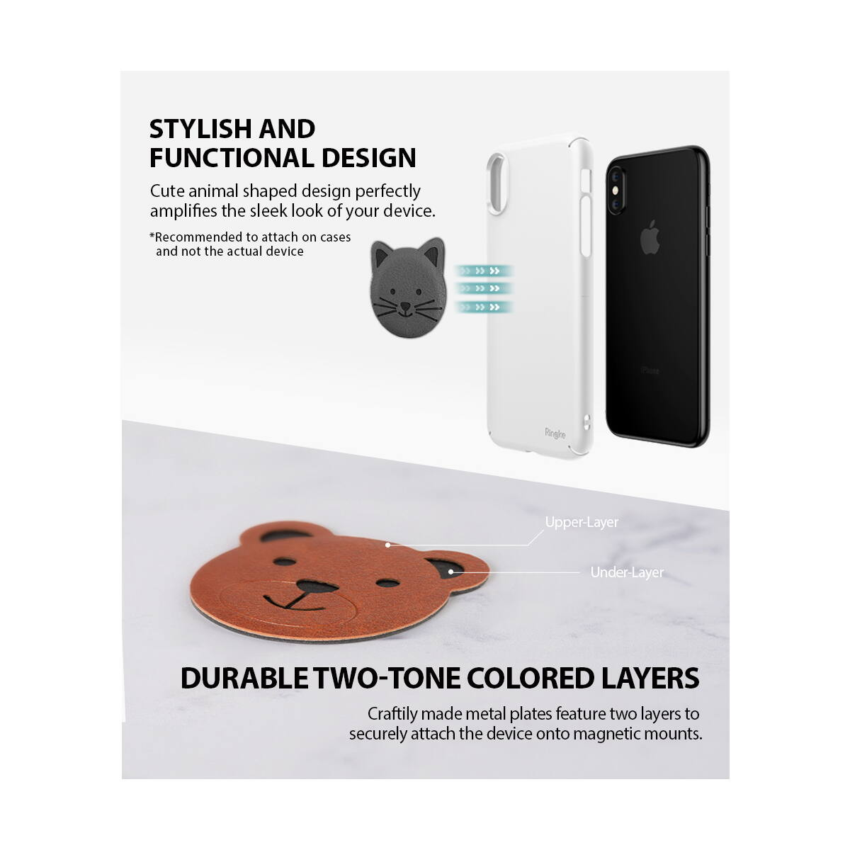 Ringke Karakteres fémlap mágneses autós tartóhoz, állatmintás (5db), Többféle
