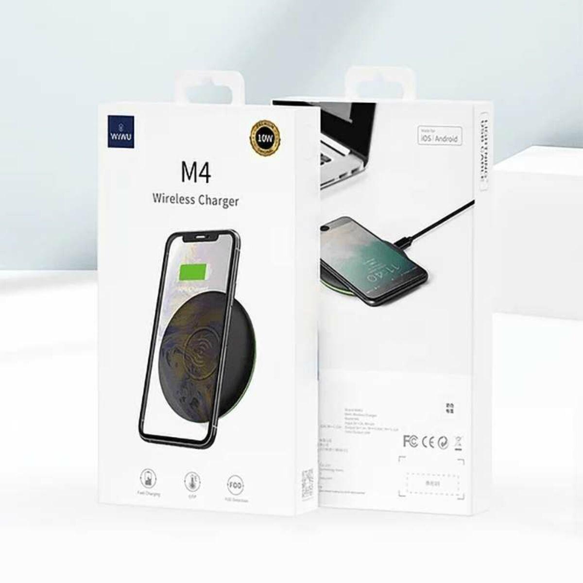 WiWU Vezeték nélküli töltő, MagSafe funkcióval (M4) asztali töltő 10W, fekete, EU