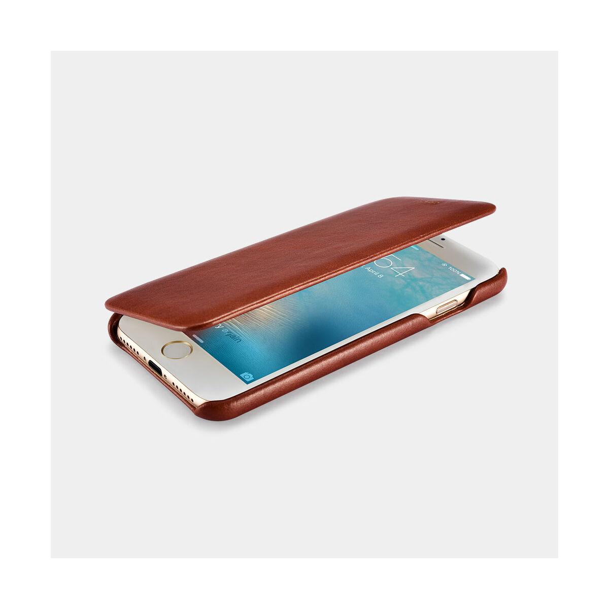 iCarer iPhone 7/8/ SE 2020 tok, Ívelt élű, Vintage Sorozat, fekete