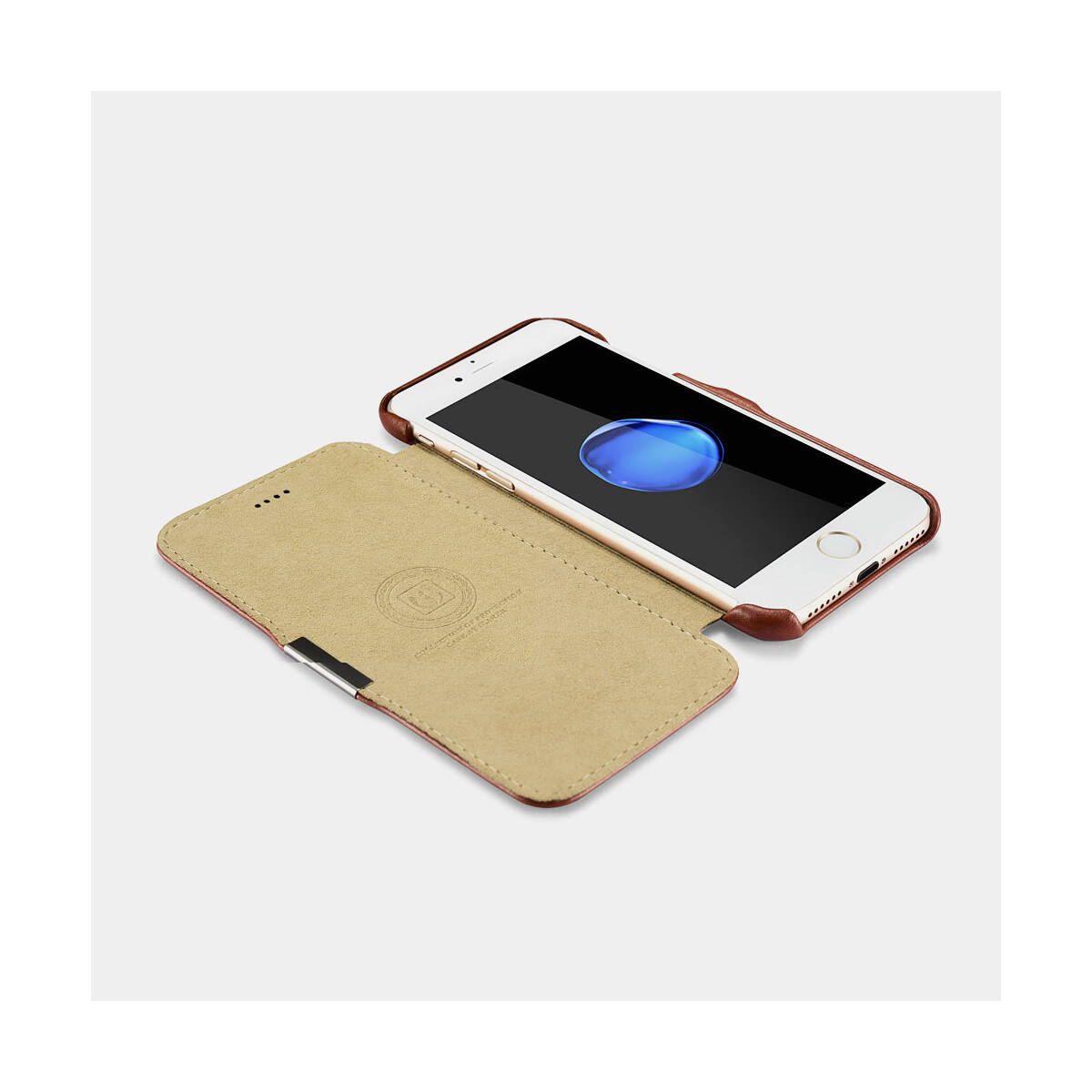 iCarer iPhone 7/8/ SE 2020 tok, Ívelt élű, Vintage Sorozat oldalt nyíló, fekete
