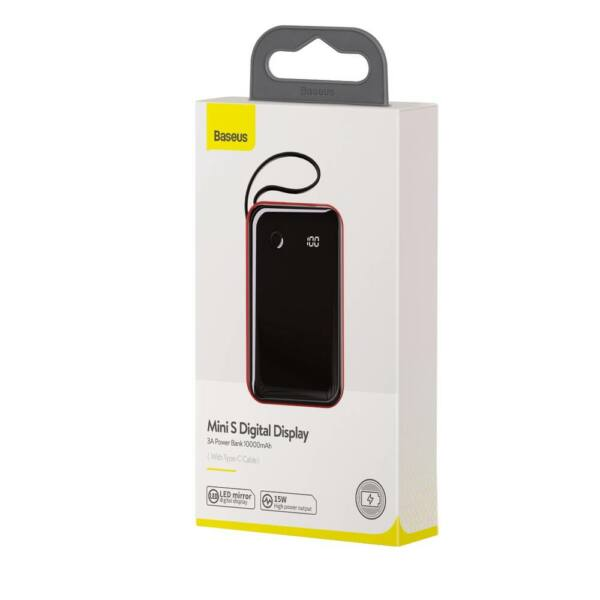 Baseus Power Bank Mini S Digitalis kijelző 3A (ajándék Type-C kábellel) 10000 mAh, piros (PPXF-A09)
