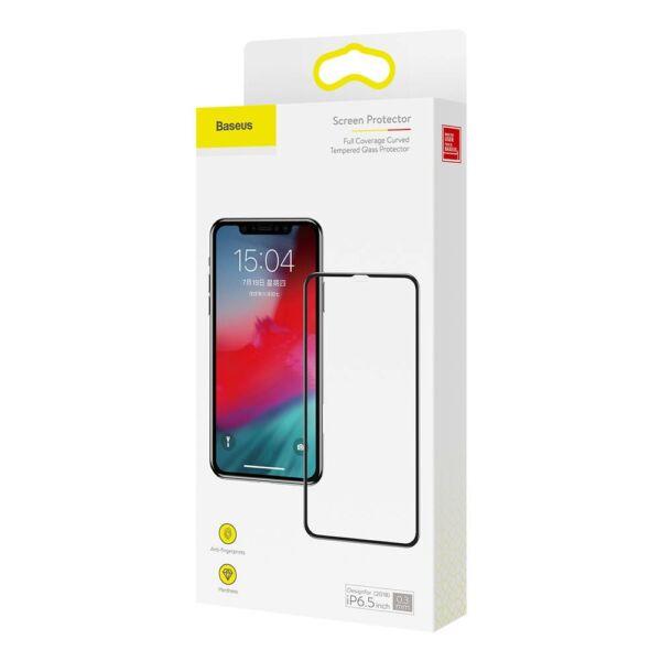 Baseus iPhone Xs Max 0.3 mm, teljes felületre kékfény szűrős, edzett üveg kijelzővédő fólia, fekete (SGAPIPH65-KD01)
