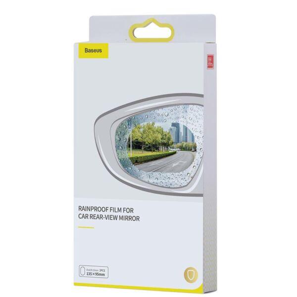 Baseus autós kiegészítő, 0.15mm, tükörre ragasztható eső lepergető filmréteg, (Ovális 2 db/csomag, 135*95mm) átlátszó (SGFY-C02)